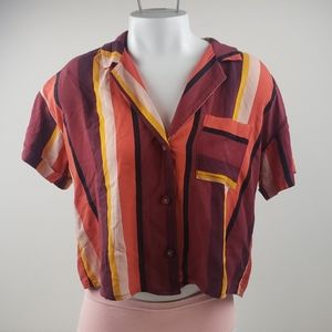 Hollister cropped top blouse stripes size small